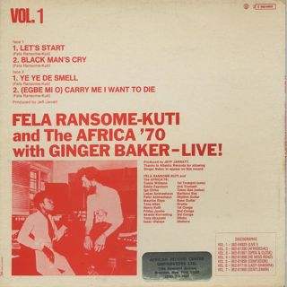 Fela Ransome Kuti & The Africa '70 with Ginger Baker / Live! (France) back