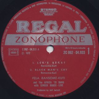 Fela Ransome Kuti & The Africa '70 with Ginger Baker / Live! (France) label