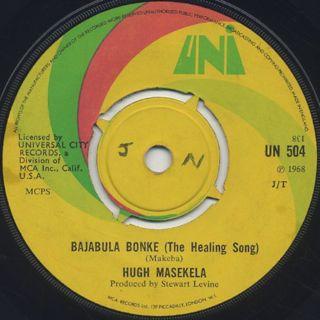 Hugh Masekela / Grazing In The Grass c/w Bajabula Bonke back