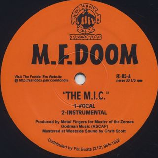 M.F. Doom / The M.I.C. c/w Red and Gold front