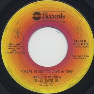 Marilyn McCoo & Billy Davis Jr. / I Hope We Get To Love In Time front