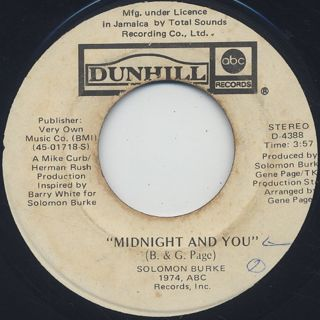 Solomon Burke / Midnight And You c/w I Have A Dream back