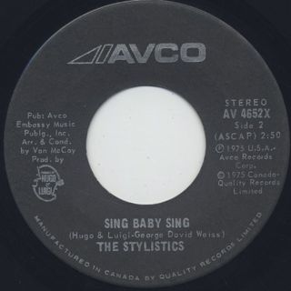 Stylistics / Sing Baby Sing c/w Thank You Baby front