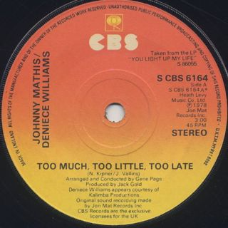 Johnny Mathis & Deniece Williams / Too Much, Too Little, Too Late back