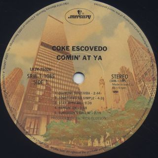 Coke Escovedo / Comin' At Ya label