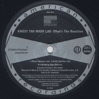 Kwest Tha Madd Lad / What's The Reaction label