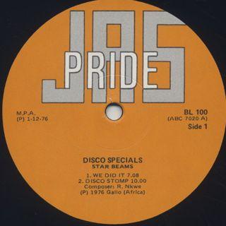 Star Beams / Play Disco Specials label