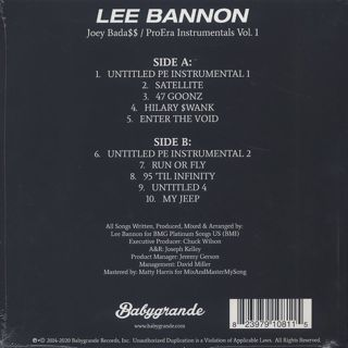 Lee Bannon / Joey Bada$$ - Pro Era Instrumentals Vol. 1 back