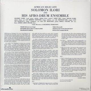 Solomon Ilori And His Afro-Drum Ensemble / African High Life back