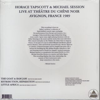 Horace Tapscott and Michael Session / Live in Avignon, France 1989 back