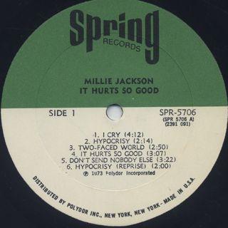 Millie Jackson / It Hurts So Good label