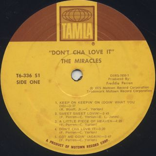 Miracles / Don't Cha Love It label