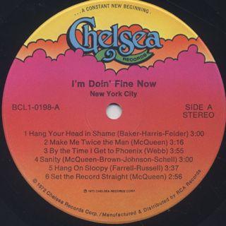 New York City / I'm Doin' Fine Now label