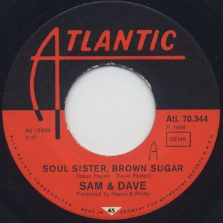 Sam & Dave / Soul Sister, Brown Sugar c/w Come On In back