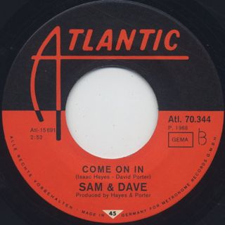 Sam & Dave / Soul Sister, Brown Sugar c/w Come On In label