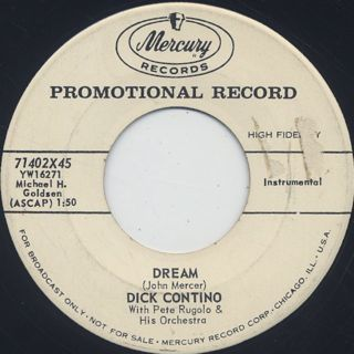 Dick Contino / Dream c/w Yesterdays front
