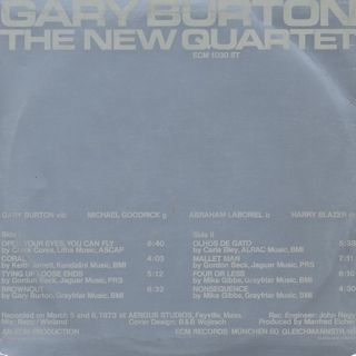 Gary Burton / The New Quartet back