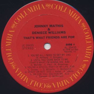 Johnny Mathis & Deniece Williams / That's What Friends Are For label