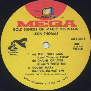 Leon Thomas / Gold Sunrise On Magic Mountain label