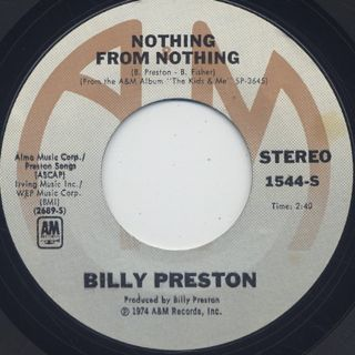 Billy Preston / Nothing From Nothing label