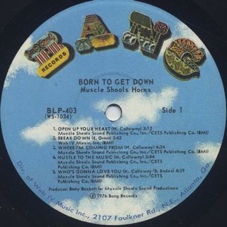 Muscle Shoals Horns / Born To Get Down label