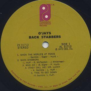 O'Jays / Back Stabbers label