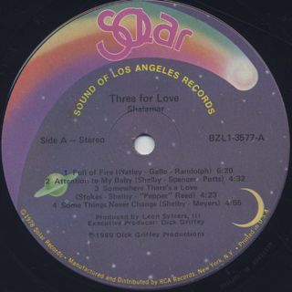 Shalamar / Three For Love label