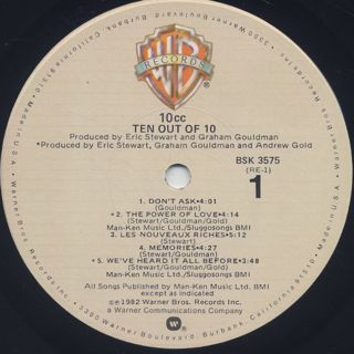 10cc / Ten Out Of 10 label