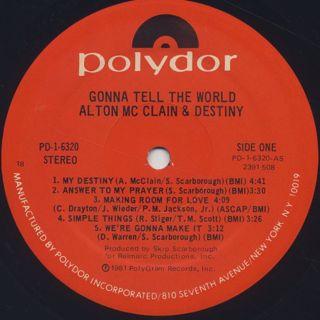 Alton McClain & Destiny / Gonna Tell The World label