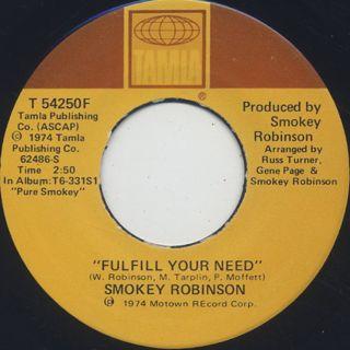 Smokey Robinson / Virgin Man c/w Fulfill Your Need back