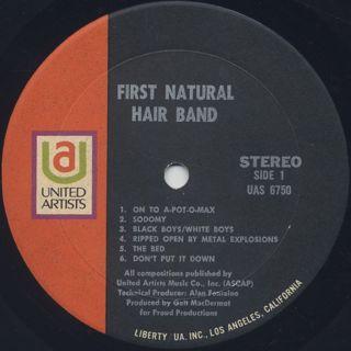 Galt MacDermot's First Natural Hair Band / S.T. label