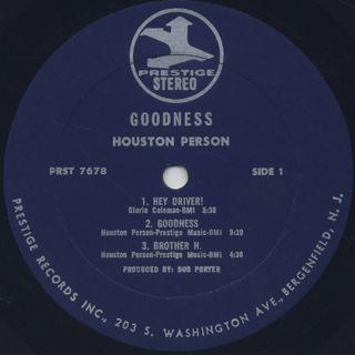 Houston Person / Goodness! label