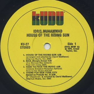Idris Muhammad / House Of The Rising Sun label