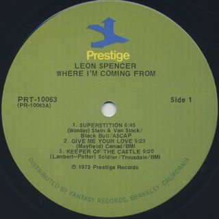 Leon Spencer / Where I'm Coming From label