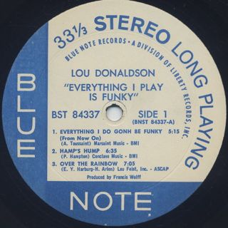 Lou Donaldson / Everything I Play Is Funky label