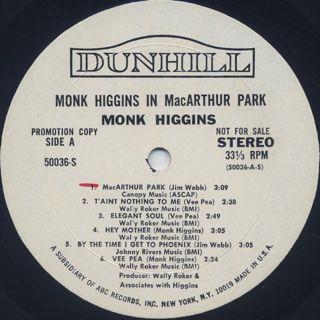 Monk Higgins / In MacArthur Park label