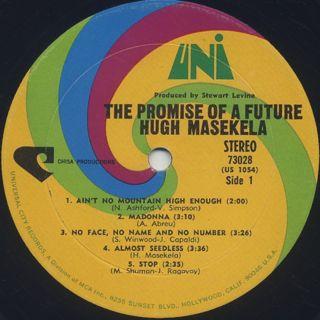 Hugh Masekela / The Promise Of A Future label