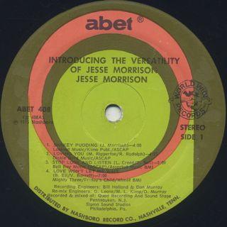 Jesse Morrison / The Versatility Of label