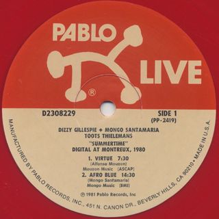Mongo Santamaria With Dizzy Gillespie And Toots Thielemans / Summertime - Digital At Montreux 1980 label