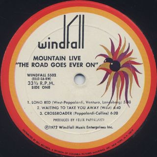 Mountain / Mountain Live The Road Goes Ever On label
